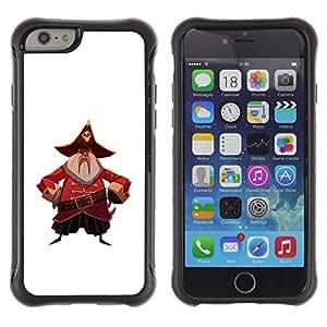 """Pulsar iFace Series Tpu silicona Carcasa Funda Case para Apple (4.7 inches!!!) iPhone 6 , Capitán Pirata del cráneo del sombrero de la correa de la barba gris"""""""