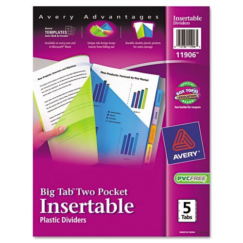 Avery : Worksaver Big Tab Plastic Dividers, Two Slash Pockets, Five-Tab, Assorted -:- Sold as 2 Packs of - 5 - / - Total of 10 Each