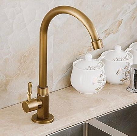 Tourmeler 360 Degree Antique Brass Swivel Faucet Single Cold Kitchen