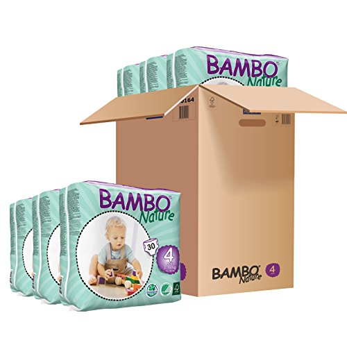 Bambo Nature Baby Diapers Classic, Size 4 (15-40 lbs), 180 Count (6 Packs of 30)