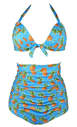 Cocoship Pineapple & Aqua Floral Retro 50s Halter High Waisted Two Piece Bikini Carnival Swimsuit XXL(FBA)