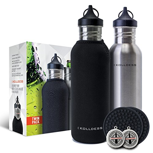 kolldess-chrome-beer-bottle-cooler-twin-pack-bundle-two-insulated-beer-bottle-coolers-two-insulated-