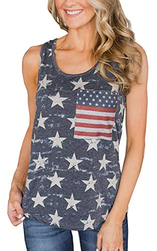 (DDSOL Women's Racerback American Flag Tank Tops Patriotic Shirt Sleeveless Sexy Summer Top Loose Tunic Gray Blue )
