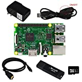 Gowoops Raspberry Pi 3 Model B Motherboard, 5V 2.5A Power Supply Adapter, Micro USB Cable with On Off Switch, 16 GB SD Card, HDMI Cable, SD Card Reader Raspberry Pi Starter Learning Kit (6 Items)