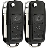 KeylessOption Keyless Entry Remote Control Car Uncut Flip Key Fob Replacement for VW Touareg KR55WK45032 (Pack of 2)