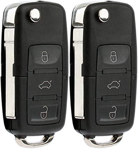 KeylessOption Keyless Entry Remote Control Car Flip Key Fob Replacement for HLO1J0959753AM, HLO1J0959753DC (Pack of 2) ()