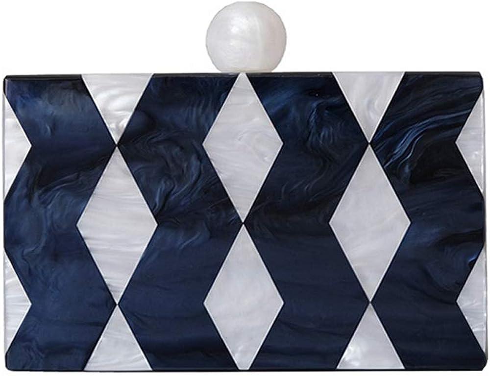 Fashion Accessory Women Bag Acrylic Blue Striped Dinner Handbag Woman Wedding Evening Bag Trendy Party Box Clutch Purse