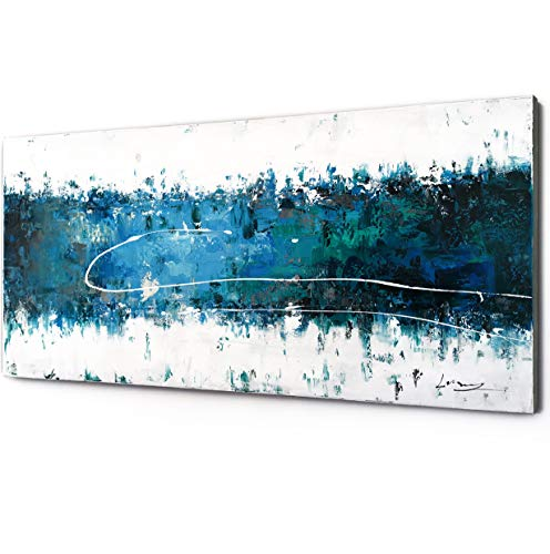100% Hand Painting Modern Abstract Seascape Oil Painting On Canvas Framed Dark Blue Sea Hand Painting Wall Art Ready to Hang On Bathroom Living Room Bedroom for Wall Decor Home Decoration (57