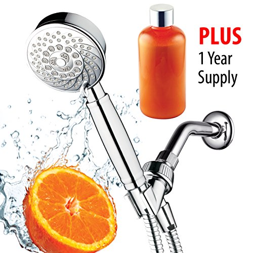 HotelSpa Fusion Vitamin C Chlorine Removing Shower-Head. 7-Setting Water Conditioning Handheld Shower with Overhead Bracket, Refillable Cartridge & Hose. Includes 1 Year Vitamin C Supply - Vitamin C Shower