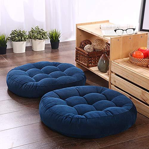 Solid Papasan Patio Seat Cushion Outdoor Chair Pad Home Tatami Floor Cushion Indoor Window Pad 22 Inch Set of 2 Throw Pillows Round Blue (Patio Chair Papasan)