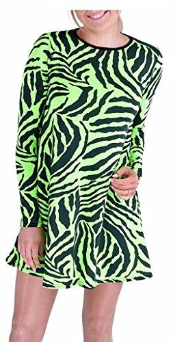 Leopard Green Neon (RM Fashions Women Swing Flare Zebra Animal Leopard Print Long Sleeve Dress Top (1X-Large, Neon Green Zebra))