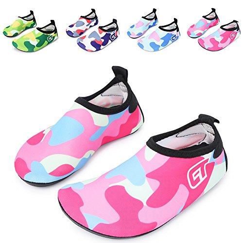 [L-RUN Kids' Water Aerobic Shoes Barefoot Beach Pool Swim Aqua Socks Red_Blue 11-11.5=EU 28-29] (Shoes For Child)