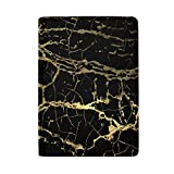 Nick Thoreaufhed Stylish Gold Glitter Marble Leather Passport Holder Cover Case Travel Wallet 5.51 X 3.94 inch