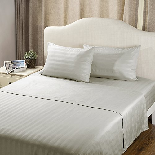 Sheet Set Twin Size Lt Grey Damask Stripe Design Bedding Sets with Deep Pocket 3 Piece Soft Smooth Wrinkle&Fade Resistant Hypoallergenic Microfiber Bed Sheets by Bedsure