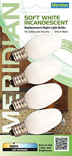 (Meridian Electric 13201 Incandescent C7 Replacement Night Light Bulbs, Small, White, 4-Pack)