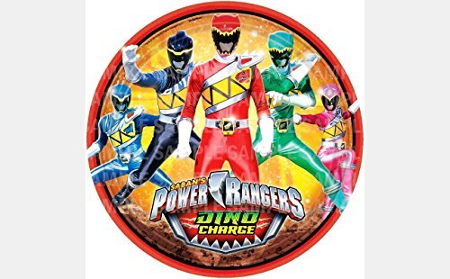 "Power Rangers Dino Charge Birthday Edible Image Photo 8"" Round Cake Topper Sheet Personalized Custom Customized Birthday Party"