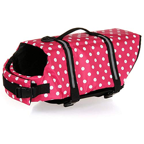 HAOCOO Dog Life Jacket Vest Saver Safety Swimsuit Preserver with Reflective Stripes/Adjustable Belt Dogs?Pink Polka Dot,XXL