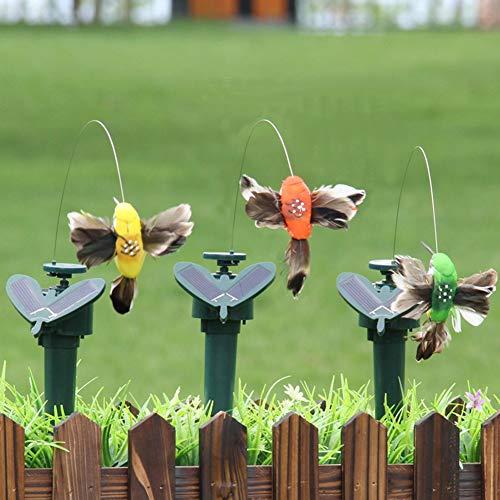 Jiecikou 3PCS Solar Powered Fluttering Hummingbird Wobble Stakes for Garden Outdoor Yard Decor Landscape Statue Random Color