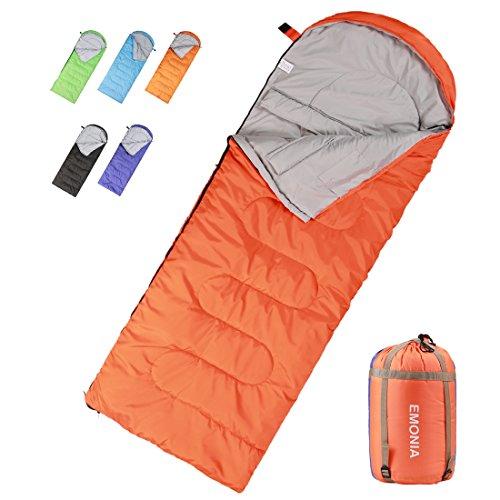 (EMONIA Camping Sleeping Bag,3 Season Waterproof Outdoor Hiking Backpacking Sleeping Bag Perfect for Traveling,Lightweight Portable Envelope Sleeping Bags for Adults,Kids,Girls and Boys )