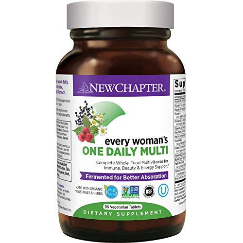 Women's Multivitamin + Immune Support – New Chapter Every Woman's One Daily, Fermented with Whole Foods & Probiotics + Iron + B Vitamins + Organic Non-GMO Ingredients – 96 Ct (Packaging May Vary)