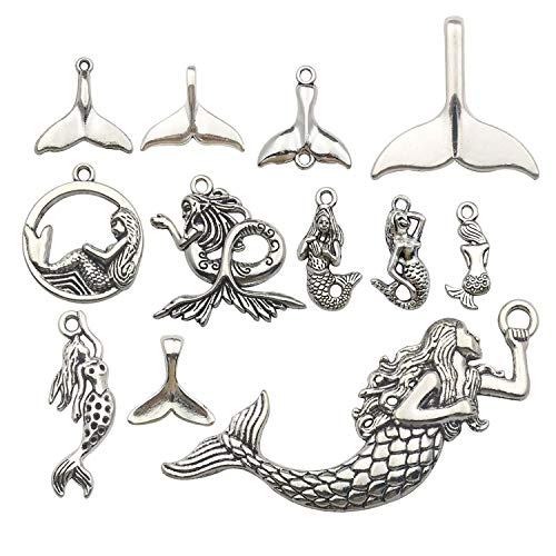 Youdiyla 48pcs Mermaid Charms Collection, Antique Silver Tone, Mermaid Tail Charms Metal Pendant Craft Supplies Findings for Necklace and Bracelet Jewelry Making(HM134)