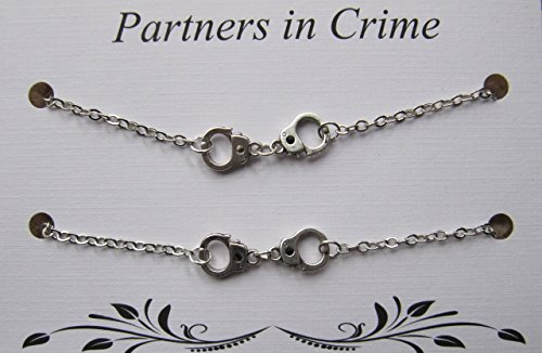 Double Partners in Crime Bracelet with handcuff charms - 2 Friendship Bracelets - Best friend bracelet