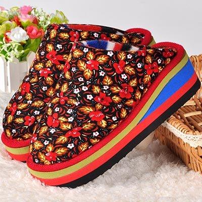 LaxBa Ladies Cachemire tricoté coton Anti-Slip Chambre Chaussons velours fleurs38-39