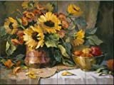 Ceramic Tile Mural - Sunflowers with copper and brass- by Maxine Johnston - Kitchen backsplash / Bathroom shower