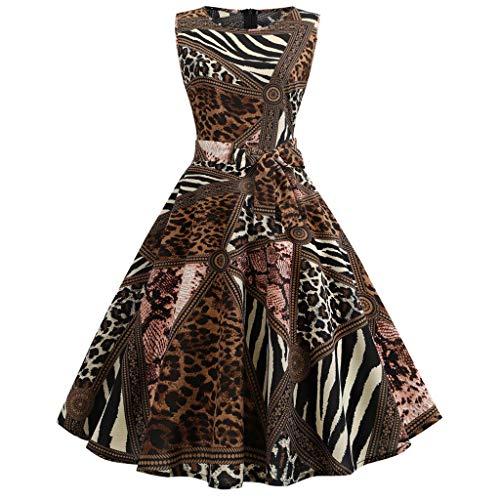Summer Leopard Pleated Dress Women's Vintage Sleeveless Evening Party Prom Swing Dress Back Zipper Sundress Brown ()