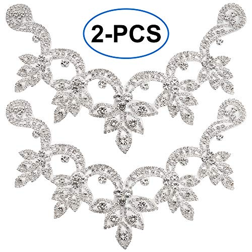 DIY Wedding Applique/Beaded Crystal Rhinestone Trim for Dress/Bags/Shoes/Sash Belt - Iron On/Hot Fixed/Glued/Sew On-Silver Flower ()