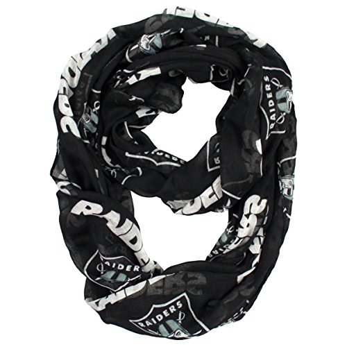 NFL Oakland Raiders Sheer Infinity Scarf, One Size, Black (Oakland Raiders Nfl Eye)