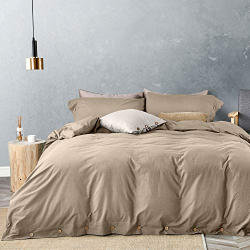 JELLYMONI 100% Washed Cotton Duvet Cover Set King Size, Luxury Soft Bedding Set with Button Closure. Solid Color Pattern Duvet Cover(No Comforter) (Khaki, King, 3Pcs) (Khaki King Comforter Set)