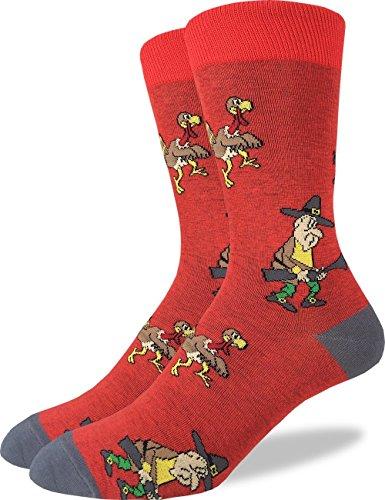 Good Luck Sock Men's Thanksgiving Turkey Hunt Crew Socks - Red, Adult Shoe Size 7-12