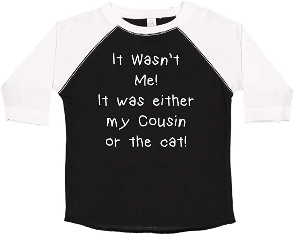Toddler//Kids Raglan T-Shirt It Wasnt Me It was Either My Cousin Or The Cat