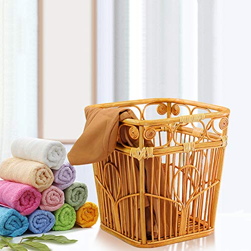 Laundry Basket Hamper Dirty Clothes Laundry Storage Bag Woven Rattan Square Waterproof Large Bin Organizer for Toys Clothing Organization