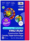 Office Products : Pacon Tru-Ray Construction Paper, 9-Inches by 12-Inches, 50-Count, Holiday Red (102993)