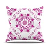 Kess InHouse Anneline Sophia ''Let's Dance Fuschia'' Pink Floral Outdoor Throw Pillow, 26 by 26-Inch