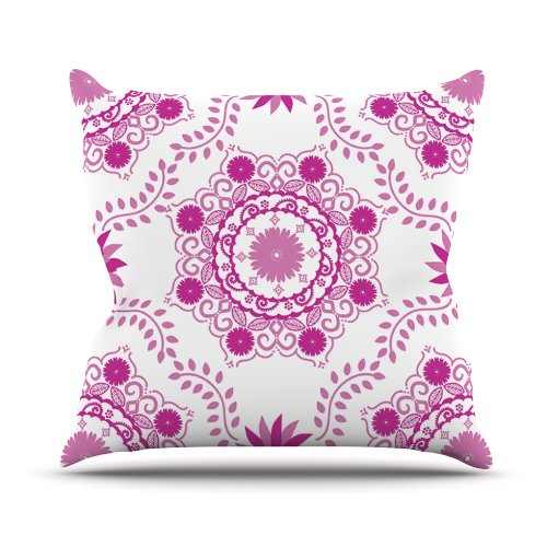 Kess InHouse Anneline Sophia ''Let's Dance Fuschia'' Pink Floral Outdoor Throw Pillow, 26 by 26-Inch by Kess InHouse