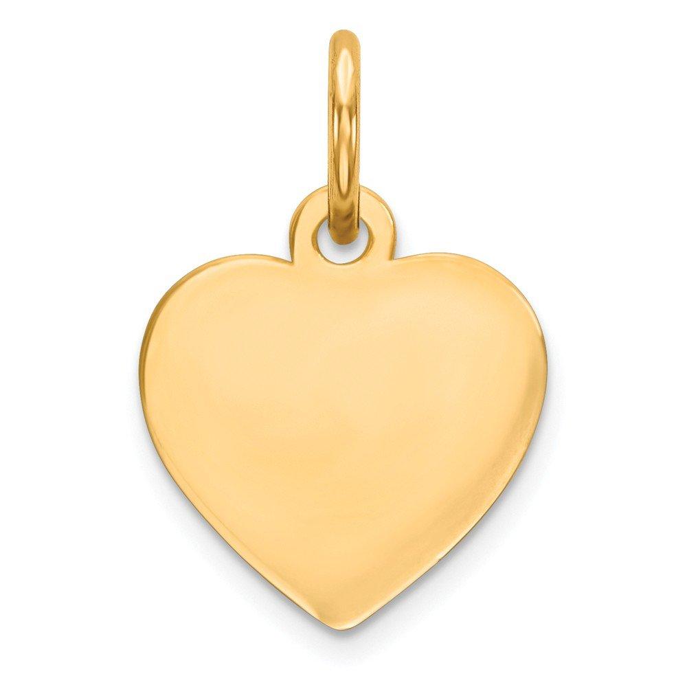 スターリングシルバーツートンカラーEngraveable Heart Polishedディスクチャーム( 15 mm x 10 mm   B075VGHKDX