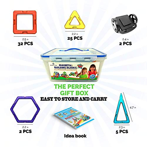 New 2018 Magnetic Blocks - Best Magnetic Tiles Kids (66pcs) Creative Building Blocks Set Boys - Girls Toddlers - Great Educational Magnetic Toys Learning While Playing