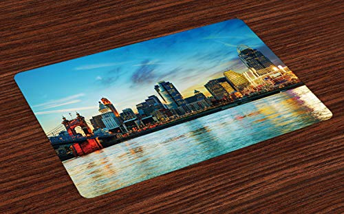 Ambesonne Cincinnati Place Mats Set of 4, Overview of The City Nighttime at Dusk Twilight Bridge Ohio River Waterfront, Washable Fabric Placemats for Dining Room Kitchen Table Decor, Multicolor (Cincinnati Ohio Patio Rooms)