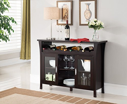 Kings Brand Furniture Wine Rack Buffet Server Console Table with Glass Doors, Espresso (Bar With Glass Cabinet Doors)