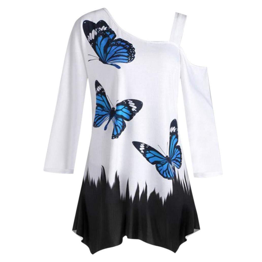 ZHRUI Maglietta Ampia da Donna a Maniche Lunghe con Scollo a Farfalla e Stampa a Farfalla (Colore : Hot Pink, Dimensione : Small)