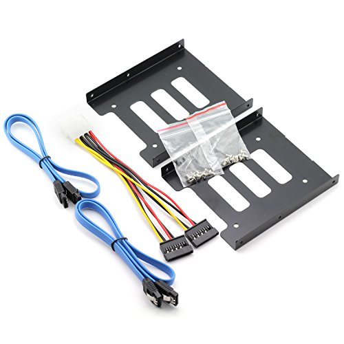 ZRM&E 2 Set 2.5 to 3.5 Inch SSD HDD Holder Kit Metal Mounting Adapter Bracket For PC Hard Drive Tray + 2pcs SATA 3.0 Cable + IDE 4P Male to 2 SATA 15 Pin Female Power Extension (Solid Drive Set)