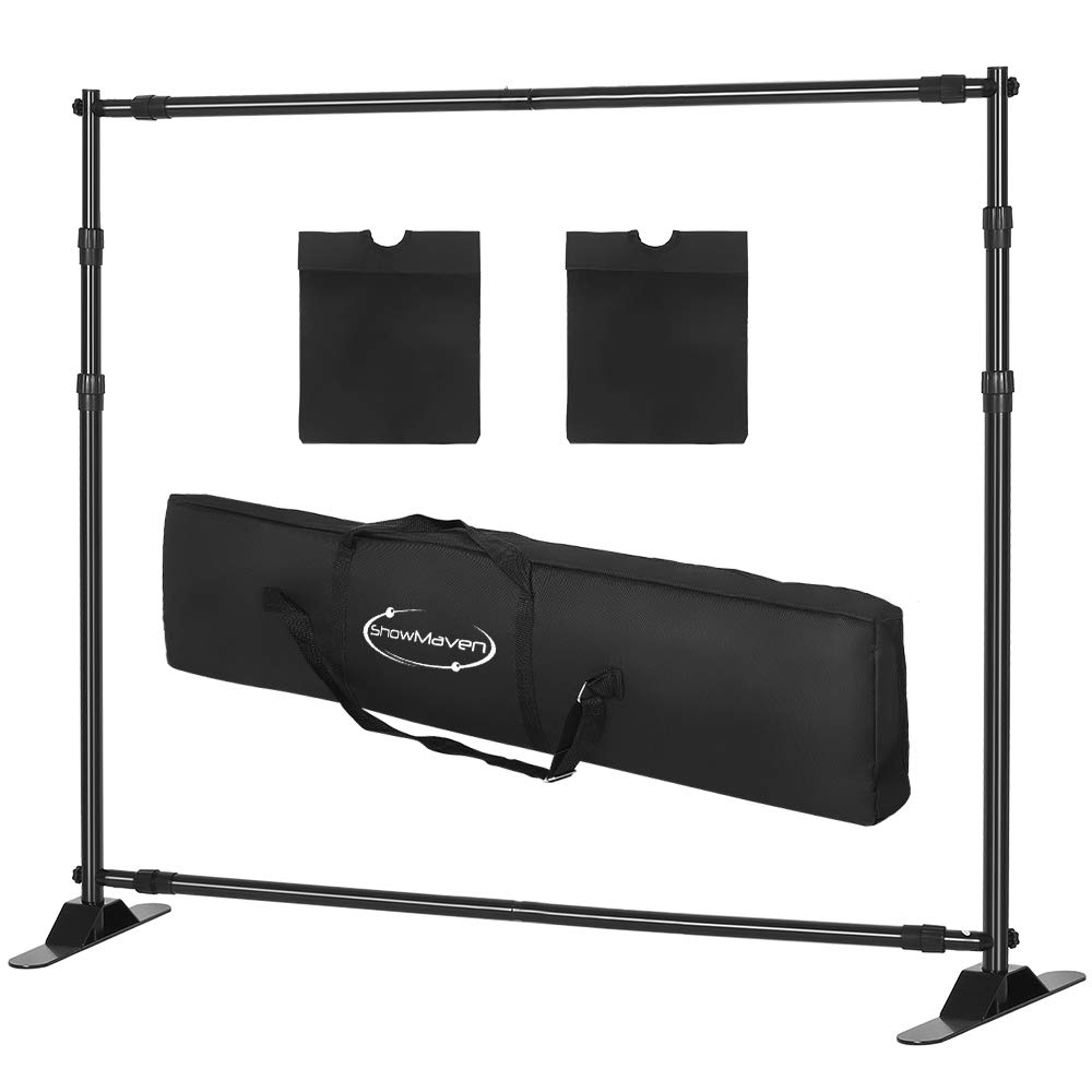 ShowMaven 10x8ft Photography Backdrop Stand Heavy Duty, Banner Stand Adjustable Trade Show Display Stand Step and Repeat Stand Background Banner Stand by ShowMaven