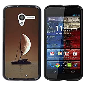 PHONE CASE GIFT Duro Estuche protector PC Cáscara Plástico Carcasa Funda Hard Protective Case for Motorola Moto X 1 1st GEN I/SAILOR IN THE SEA HALF MOON/