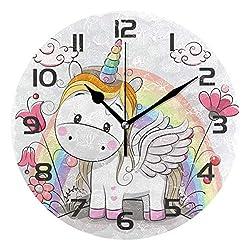 Dozili Cute Unicorn Rainbow Decorative Wooden Round Wall Clock Arabic Numerals Design Non Ticking Wall Clock Large for Bedrooms, Living Room, Bathroom