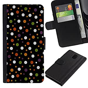 Ihec-Tech / Flip PU Cuero Cover Case para Samsung Galaxy Note 3 III N9000 N9002 N9005 - Colored Polka Vintage Dots Pattern