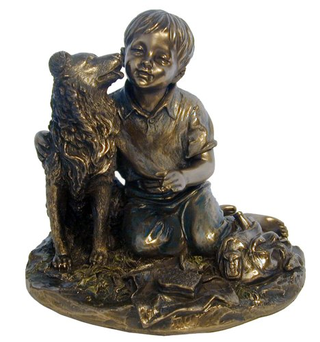 Dog Licking Face - 4.75 Inch Boy with Pet Shetland Sheepdog Textured Figurine Bronze Hued