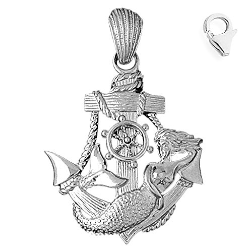 Sterling Silver 52mm Anchor Mermaid 6.5'' Charm Bracelet by JewelsObsession